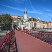 Lyon City With Red Footbridge