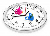 pic of pacifier  - 3d generated picture of baby pacifiers on a clock - JPG