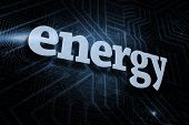 The word energy against futuristic black and blue background