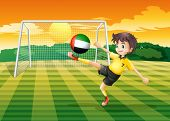 Illustration of a female player kicking the ball from the United Arab Emirates