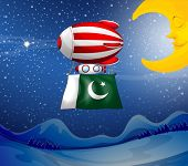 Illustration of a floating balloon with the flag of Pakistan