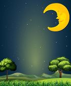 Illustration of a bright sky with a sleeping moon