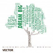 Vector Conceptual green tree made of education text as wordcloud isolated on white background