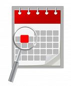 Calendar icon and magnifying glass