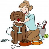 picture of dog-walker  - An image of a female taking care of a dog - JPG