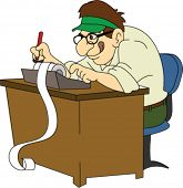 Retro Accountant with Green Visor at Desk