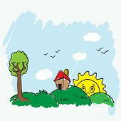 landscape doodle with house, tree and sun