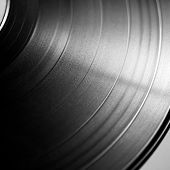 Black vinyl record close up