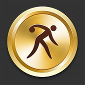 Bowling Icons on Gold Button Collection