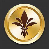 Fleur De Lis Icons on Gold Button Collection