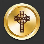 Cross Icons on Gold Button Collection