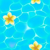 Seamless pattern of blue water in pool with flowers.