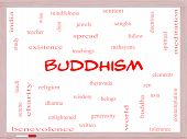 Buddhism Word Cloud Concept On A Whiteboard