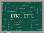 Etiquette Word Cloud Concept On A Blackboard