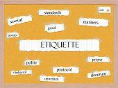 Etiquette Corkboard Word Concept