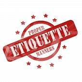 Red Weathered Etiquette Stamp Circle And Stars Design