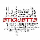 picture of polite  - Etiquette Word Cloud Concept in red caps with great terms such as manners polite social and more - JPG