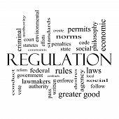 Regulation Word Cloud Concept In Black And White