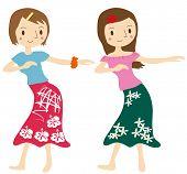 Two women dancing the hula