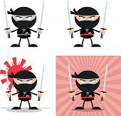 Angry Ninja Warrior Characters 3 Flat Design  Collection Set