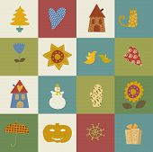 greeting card Happy New Year Christmas eve set
