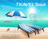 Beach chair and umbrella on sand beach illustration background