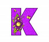 image of letter k  - The letter K in the alphabet set  - JPG