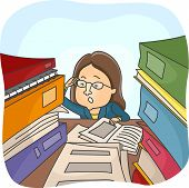 Illustration of a Woman Rummaging Through Stacks of Files