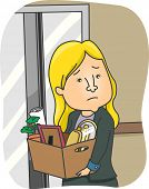 Illustration of a Woman Taking Her Belongings Home After Being Fired from Work