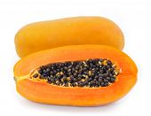 stock photo of pawpaw  - Fresh ripe papaya isolated on white background - JPG
