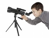 Young Man With Astronomy Telescope