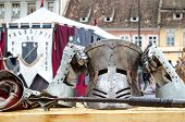 Armor and weapons at Medieval festival, Brasov
