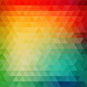 foto of parallelepiped  - Retro mosaic pattern of geometric texture from triangle shapes - JPG