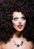 Creativity. Theatrical Emotions. Woman With Fantastic Coiffure Looks Like Doll