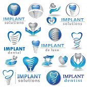 image of dental  - Dental implants symbol collection - JPG