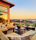 Beautiful Home Exterior Patio with Sunset View