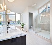 stock photo of bath tub  - Beautiful Master Bathroom in New Luxury Home - JPG