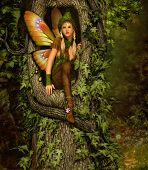 picture of pixie  - 3d computer graphics of a fairy with a wreath on her head squatting in a knothole of a tree - JPG