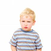 Angry And Serious Beautiful Boy Isolated On White