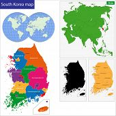 stock photo of hangul  - Map of administrative divisions of South Korea - JPG
