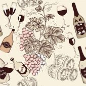 Seamless Vector Design In Vintage Style With Wine Elements