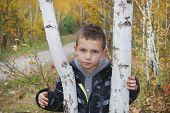 Serious Boy In Autumn Forest.