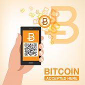 Bitcoin Accepted, Smartphone With Qr Code