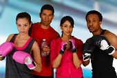 image of kickboxing  - Group of people in a boxing class - JPG