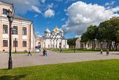 Novgorod, Russia - August 10, 2013: Saint Sophia Cathedral At Novgorod Kremlin. Cathedral Was Built