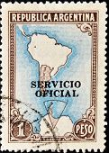 ARGENTINA - CIRCA 1955: A stamp printed in Argentina shows Map of South America circa 1955