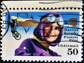 UNITED STATES OF AMERICA - CIRCA 1991: A stamp printed in the USA shows image of Harriet Quimby