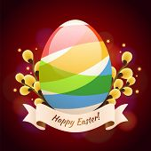 Happy Easter Greening Card With Colored Egg