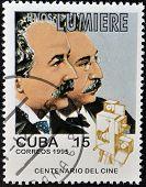 CUBA - CIRCA 1995: A stamp printed in Cuba shows brother lumiere circa 1995