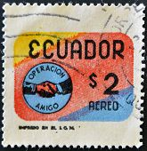 ECUADOR - CIRCA 1969: A stamp printed in Ecuador dedicated to the operation Friend circa 1969